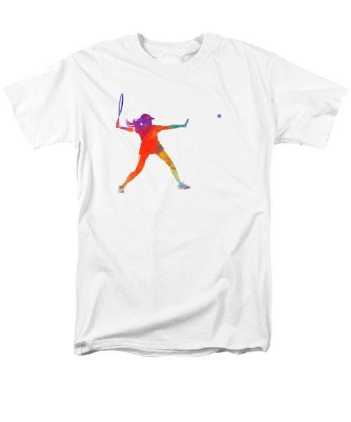 Woman Tennis Player 01 In Watercolor Men's T-Shirt  (Regular Fit) by Pablo Romero