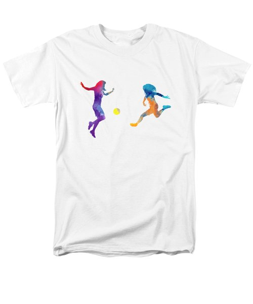 Women Soccer Players 01 In Watercolor Men's T-Shirt  (Regular Fit) by Pablo Romero