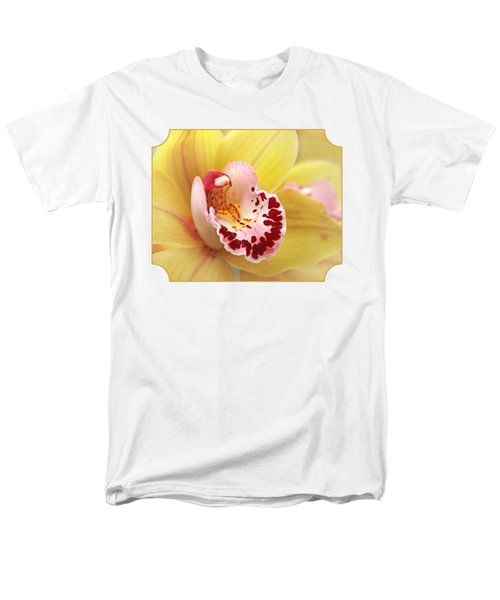 Yellow Cymbidium Orchid Men's T-Shirt  (Regular Fit) by Gill Billington