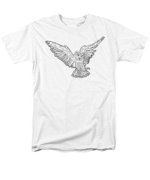 Zentangle Owl In Flight Men's T-Shirt  (Regular Fit) by Cindy Elsharouni