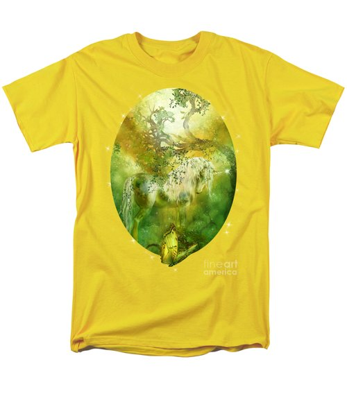 Unicorn Of The Forest  Men's T-Shirt  (Regular Fit) by Carol Cavalaris