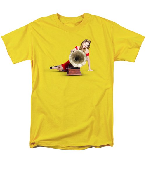 Beautiful Pinup Woman Listening To Old Gramophone Men's T-Shirt  (Regular Fit) by Jorgo Photography - Wall Art Gallery