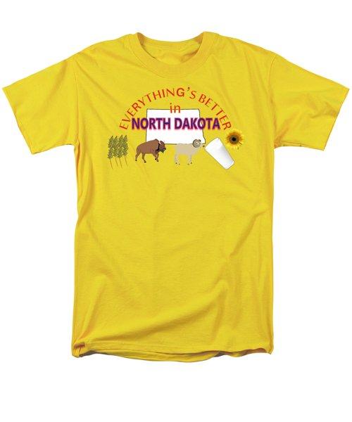 Everything's Better In North Dakota Men's T-Shirt  (Regular Fit) by Pharris Art