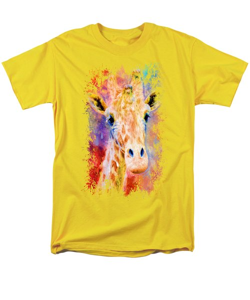 Jazzy Giraffe Colorful Animal Art By Jai Johnson Men's T-Shirt  (Regular Fit) by Jai Johnson