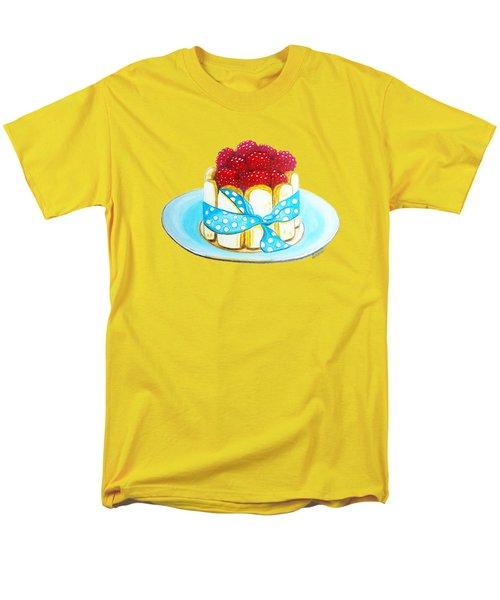 Raspberry Finger Biscuit Dessert Illustration Men's T-Shirt  (Regular Fit) by Sonja Taljaard