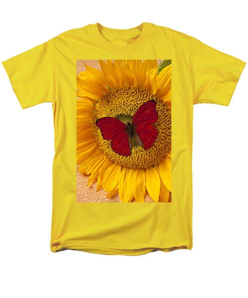 Red Butterfly On Sunflower T-Shirt by Garry Gay