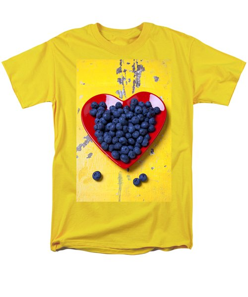 Red heart plate with blueberries T-Shirt by Garry Gay