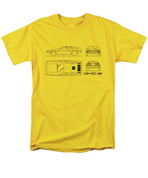 The Delorean Dmc-12 Blueprint - White Men's T-Shirt  (Regular Fit) by Mark Rogan