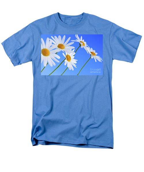 Daisy flowers on blue background T-Shirt by Elena Elisseeva