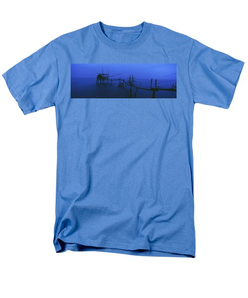 Old Fishing Platform Over Water At Dusk T-Shirt by Axiom Photographic