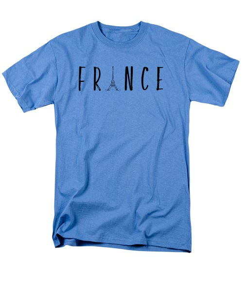 France Typography Panoramic Men's T-Shirt  (Regular Fit) by Melanie Viola