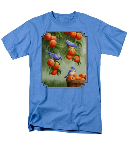 Bird Painting - Bluebirds And Peaches Men's T-Shirt  (Regular Fit) by Crista Forest