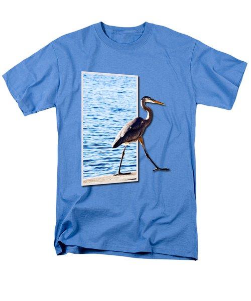Blue Heron Strutting Out Of Frame Men's T-Shirt  (Regular Fit) by Roger Wedegis
