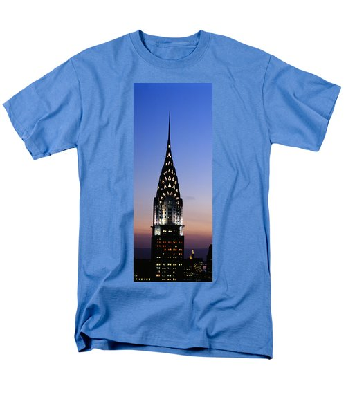 Building Lit Up At Twilight, Chrysler Men's T-Shirt  (Regular Fit) by Panoramic Images