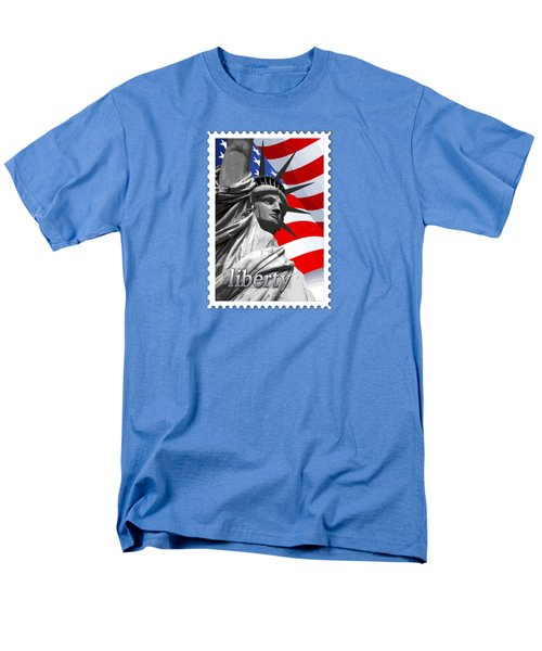 Graphic Statue Of Liberty With American Flag Text Liberty Men's T-Shirt  (Regular Fit) by Elaine Plesser