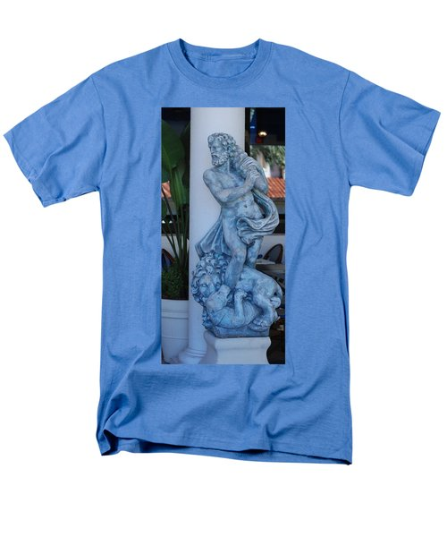 GREEK DUDE AND LION IN BLUE T-Shirt by ROB HANS