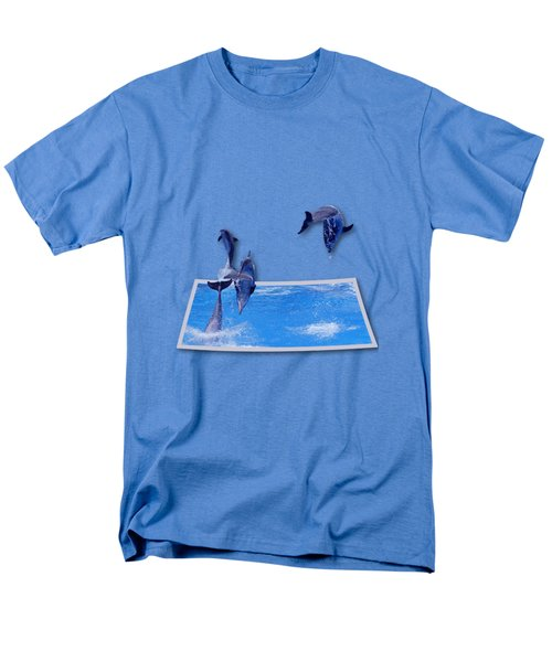 Leaping Dolphins Men's T-Shirt  (Regular Fit) by Roger Wedegis