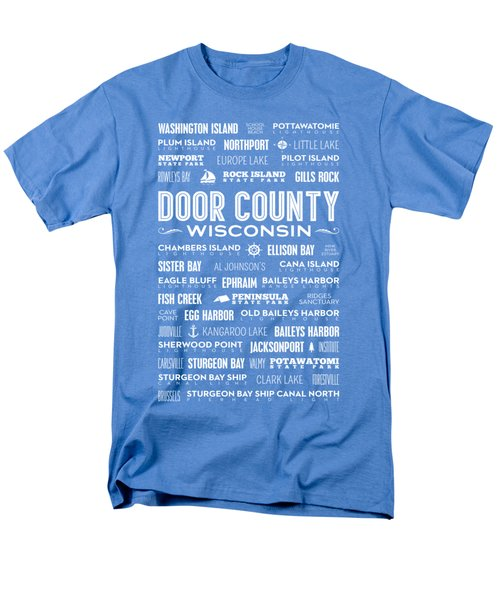 Places Of Door County On Blue Men's T-Shirt  (Regular Fit) by Christopher Arndt