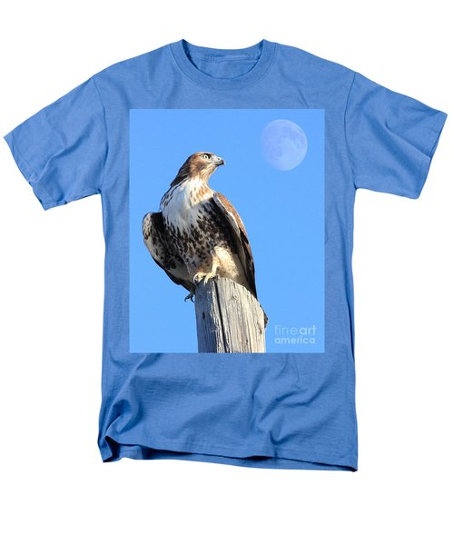 Red Tailed Hawk and Moon T-Shirt by Wingsdomain Art and Photography
