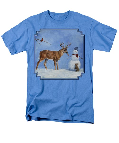 Whitetail Deer And Snowman - Whose Carrot? Men's T-Shirt  (Regular Fit) by Crista Forest