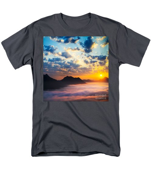 Sea of clouds on sunrise with ray lighting T-Shirt by Setsiri Silapasuwanchai