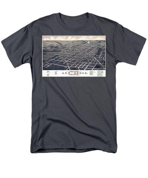 1880 Birds Eye Map Of Ann Arbor Men's T-Shirt  (Regular Fit) by Stephen Stookey