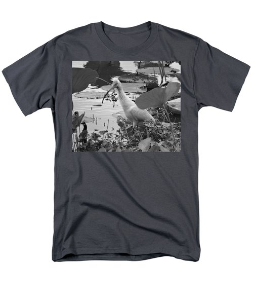 American White Ibis Black And White Men's T-Shirt  (Regular Fit) by Dan Sproul