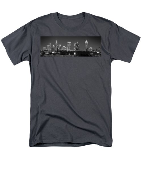 Atlanta Skyline at Night Downtown Midtown Black and White BW Panorama T-Shirt by Jon Holiday