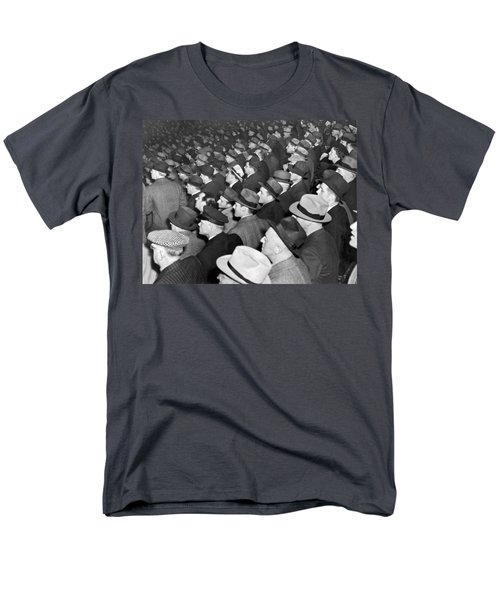 Baseball Fans At Yankee Stadium For The Third Game Of The World Men's T-Shirt  (Regular Fit) by Underwood Archives