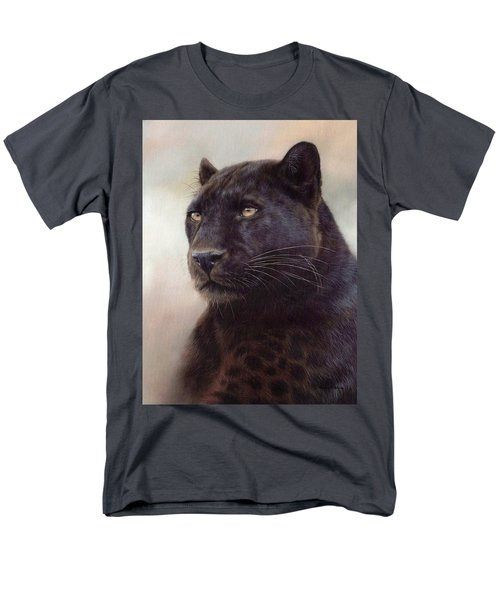 Black Leopard Painting Men's T-Shirt  (Regular Fit) by Rachel Stribbling