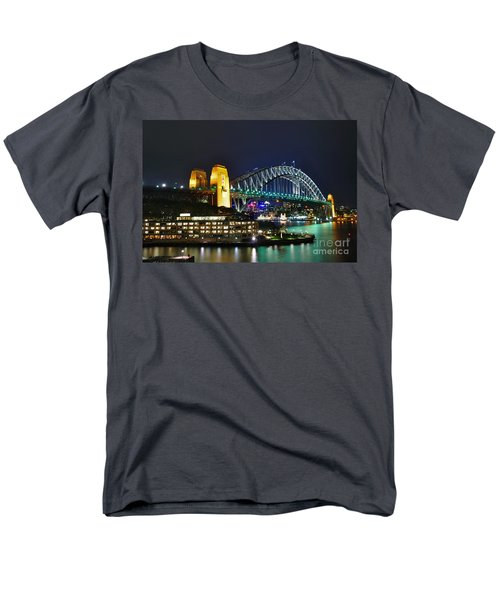 Colorful Sydney Harbour Bridge by Night T-Shirt by Kaye Menner