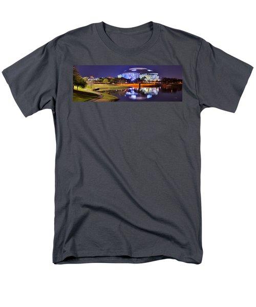 Dallas Cowboys Stadium At Night Att Arlington Texas Panoramic Photo Men's T-Shirt  (Regular Fit) by Jon Holiday