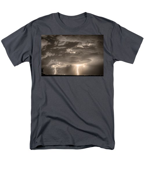 Double Lightning Strikes in Sepia HDR T-Shirt by James BO  Insogna