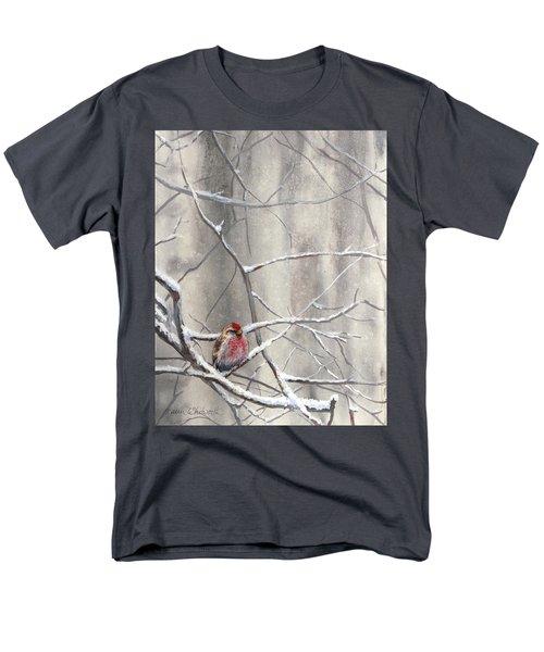 Eyeing The Feeder Alaskan Redpoll In Winter Men's T-Shirt  (Regular Fit) by Karen Whitworth