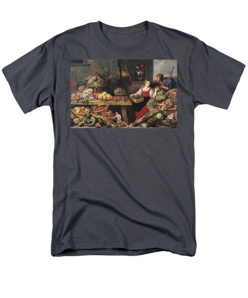 Fruit And Vegetable Market Oil On Canvas Men's T-Shirt  (Regular Fit) by Frans Snyders