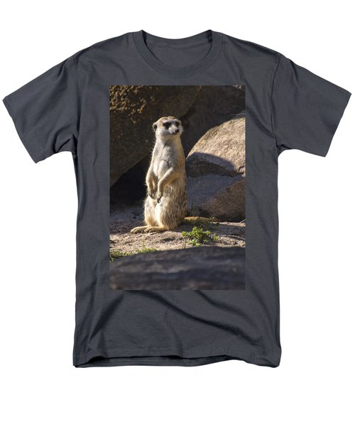 Meerkat Looking Left Men's T-Shirt  (Regular Fit) by Chris Flees