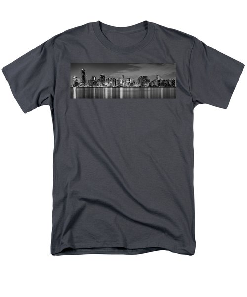 Miami Skyline At Dusk Black And White Bw Panorama Men's T-Shirt  (Regular Fit) by Jon Holiday