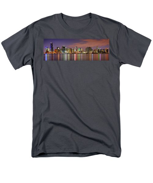 Miami Skyline At Dusk Sunset Panorama Men's T-Shirt  (Regular Fit) by Jon Holiday