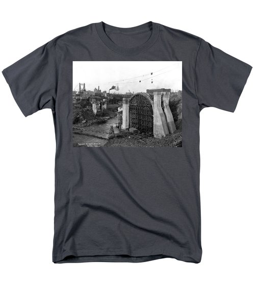 MONROE ST BRIDGE CONSTRUCTION 1910 T-Shirt by Daniel Hagerman
