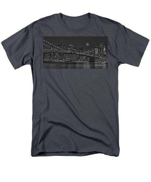 Moonrise Over The Brooklyn Bridge BW T-Shirt by Susan Candelario
