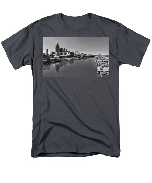 Nashville Skyline In Black And White At Day Men's T-Shirt  (Regular Fit) by Dan Sproul