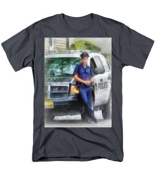 Police - Policeman by Patrol Car T-Shirt by Susan Savad
