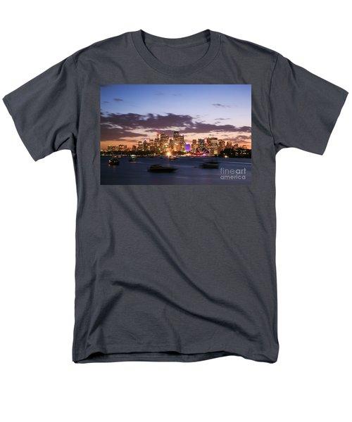 Sydney Skyline At Dusk Australia Men's T-Shirt  (Regular Fit) by Matteo Colombo