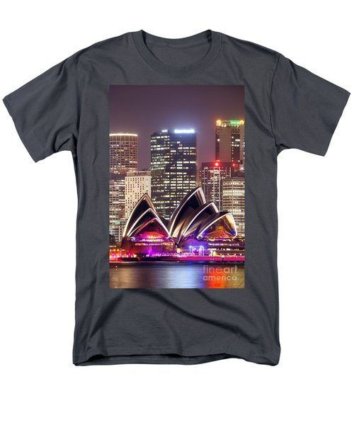 Sydney Skyline At Night With Opera House - Australia Men's T-Shirt  (Regular Fit) by Matteo Colombo