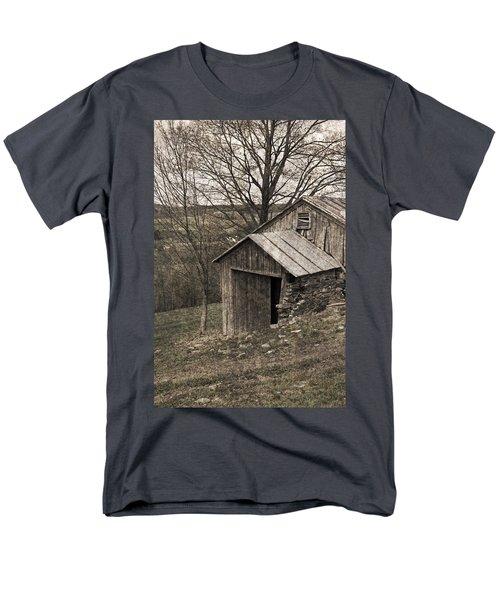 Rustic Hillside Barn Pasture T-Shirt by John Stephens
