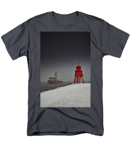 A Red Lighthouse Along The Coast In T-Shirt by John Short