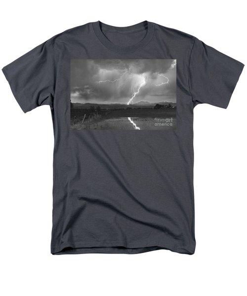 Lightning Striking Longs Peak Foothills 2BW T-Shirt by James BO  Insogna