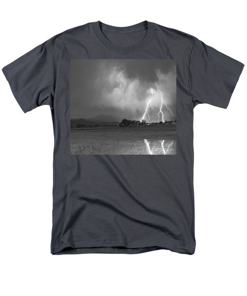Lightning Striking Longs Peak Foothills 8CBW T-Shirt by James BO  Insogna