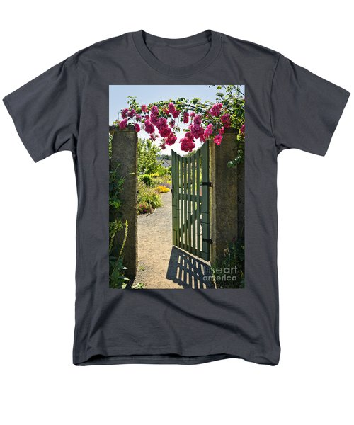 Open garden gate with roses T-Shirt by Elena Elisseeva
