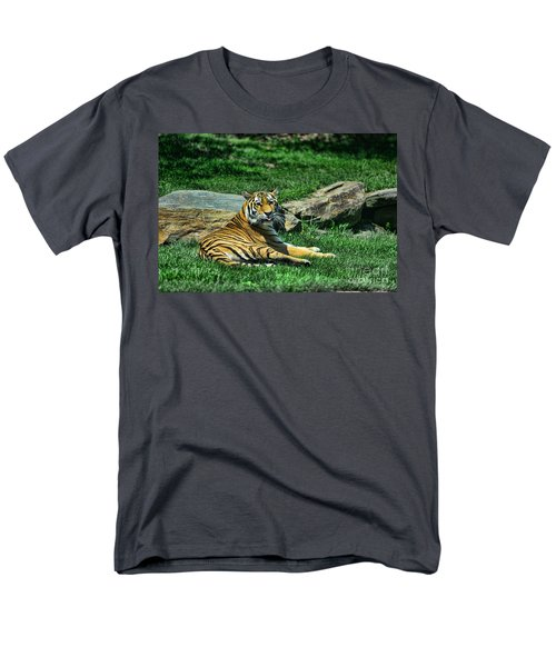 Tiger - Endangered - lying down - tongue out T-Shirt by Paul Ward